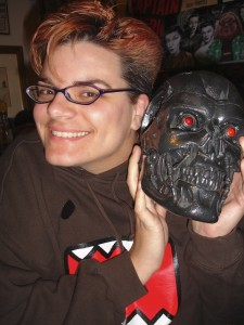 Melissa with an actual Stan Winston Studios Terminator skull from Terminator: Salvation. The skull has had the honor of being punched by Christian Bale.