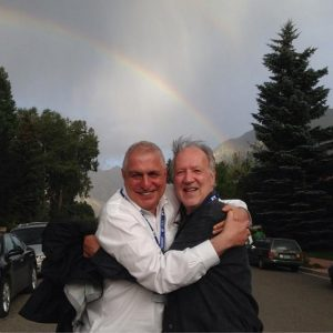 Werner Herzog and Errol Morris under a rainbow